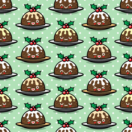 Seamless pattern with cute Christmas pudding characters. Endless texture for festive design, brochure, flyer, packaging, wrapping and decoration. Vettoriali