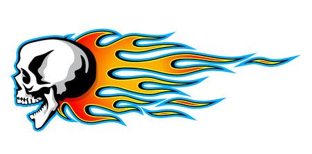 Un ejemplo aislado del vector del cráneo ardiente con las llamas tribales clásicas en el fondo blanco. Puede ser utilizado para tatuaje o cualquier diseño de impresión de camiseta