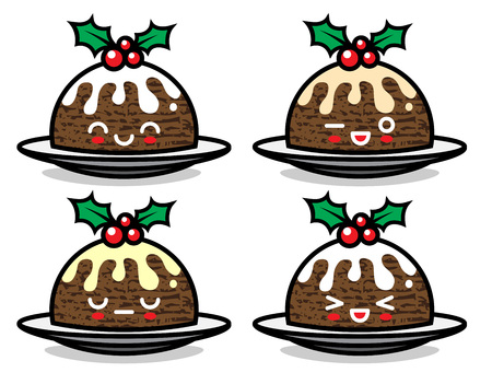 Cute vector Christmas pudding characters with different emotions. Can be used for festive design, brochure, flyer, packaging, wrapping and any kind of decoration.