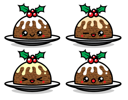 Set of cute vector Christmas pudding characters with different emotions. Can be used for festive design, brochure, flyer, packaging, wrapping and any kind of decoration.