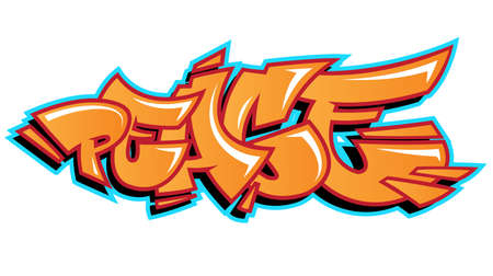 Vector peace word lettering in urban graffiti style in customizable colors. Illustration