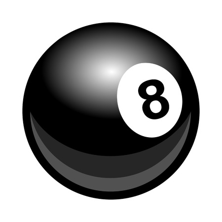 Vector billiards snooker pool 8ball illustration isolated on white background. Ideal for logo design element, sticker, car decals and any kind of decoration. Çizim