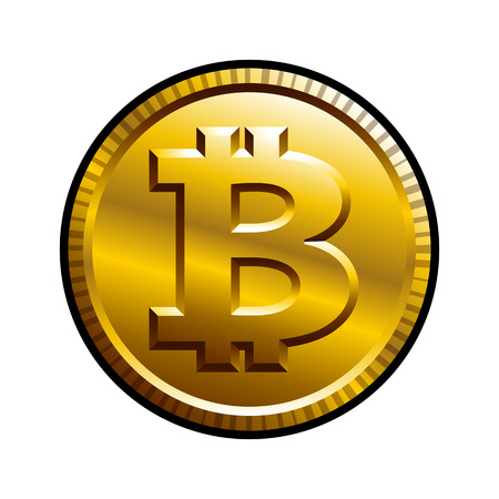Bitcoin vector illustration isolated on white background. Ideal for logo design, sticker, decal and any kind of decoration.