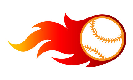 Vector illustration of baseball ball with simple flame shape. Ideal for sticker, decal, sport logo and any kind of decoration.