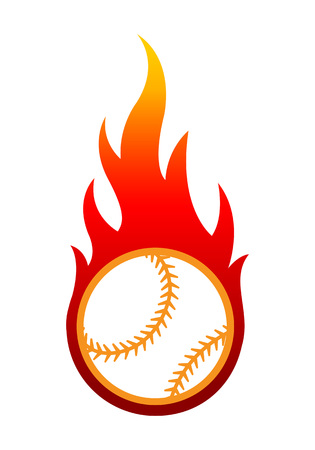Vector illustration of baseball ball with simple flame shape. Ideal for sticker, decal, sport and any kind of decoration. 免版税图像 - 105753919