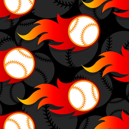 Seamless pattern with baseball ball icons and flames. Vector illustration. Ideal for wallpaper, wrapping, packaging, fabric design and any kind of decoration.