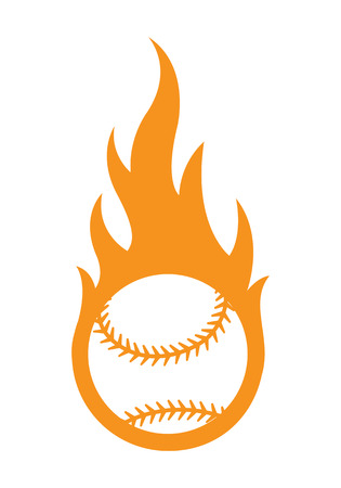 Vector illustration of baseball ball with simple flame shape. Ideal for sticker, decal, sport and any kind of decoration.