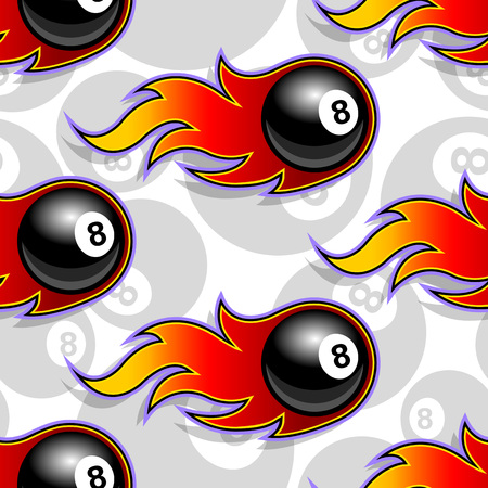 Seamless pattern with billiards pool 8 ball icons and flames. Vector illustration. Ideal for wallpaper, wrapper, packaging, fabric design and any kind of decoration. Ilustrace