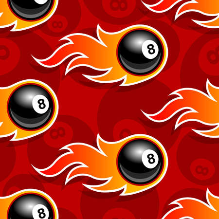 Seamless pattern with billiards pool 8 ball icons and flames. Vector illustration. Ideal for wallpaper, wrapper, packaging, fabric design and any kind of decoration. Vectores