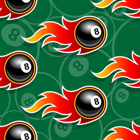 Seamless pattern with billiards pool 8 ball icons and flames. Vector illustration. Ideal for wallpaper, wrapper, packaging, fabric design and any kind of decoration. Çizim