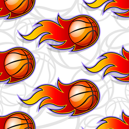 Seamless pattern with basketball ball icons and flames. Vector illustration. Ideal for wallpaper, wrapping, packaging, fabric design and any kind of decoration. Çizim