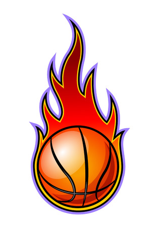 Vector blazing basketball ball with classic flames. Ideal for stickers, decals, sport logo design and any kind of decoration.