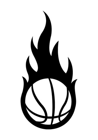 Vector blazing basketball ball silhouette with classic flames. Ideal for stickers, decals, sport logo design and any kind of decoration. Illustration