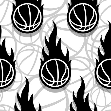 Seamless pattern with basketball ball and classic flames. Vector illustration. Ideal for wrapping, packaging, wallpaper and any kind of decoration.