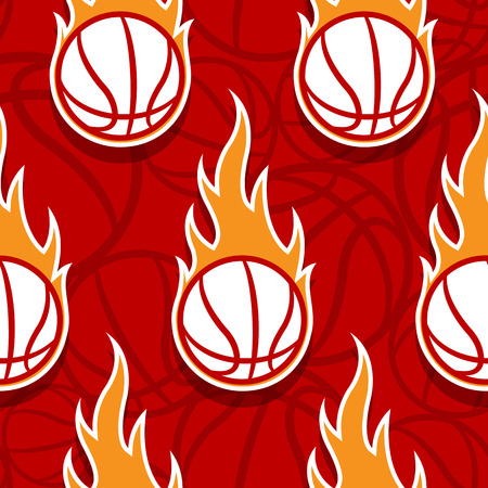 Seamless pattern with burning basketball ball. Vector illustration. Ideal for wrapping, packaging, wallpaper and any kind of decoration.