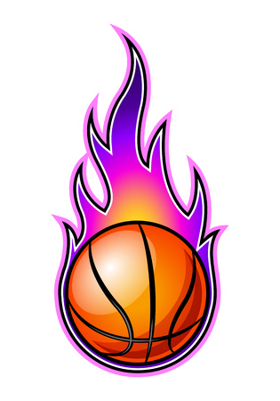 Vector burning basketball ball with classic flames. Ideal for stickers, decals, sport logo design and any kind of decoration.