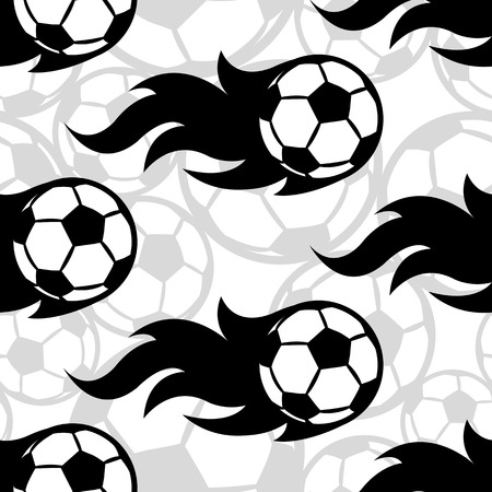 Seamless pattern with football soccer ball icons and flames. Vector illustration. Ideal for wallpaper, wrapping, packaging, fabric design and any kind of decoration.