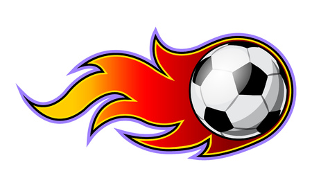 Vector illustration of football soccer ball with simple flame shape. Ideal for sticker, decal, sport logo and any kind of decoration.