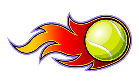 Vektorillustration des Tennisballs mit einfacher Flammenform. Ideal für Aufkleber, Abziehbilder, Sportlogos und jede Art von Dekoration.