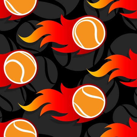 Seamless pattern with tennis ball icons and flames. Vector illustration. Ideal for wallpaper, wrapping, packaging, fabric design and any kind of decoration. Ilustrace