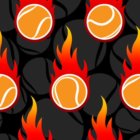 Seamless pattern with tennis ball icons and flames. Vector illustration. Ideal for wallpaper, wrapping, packaging, fabric design and any kind of decoration. Illustration