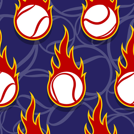 Seamless pattern with tennis ball icons and flames. Vector illustration. Ideal for wallpaper, wrapping, packaging, fabric design and any kind of decoration. Çizim