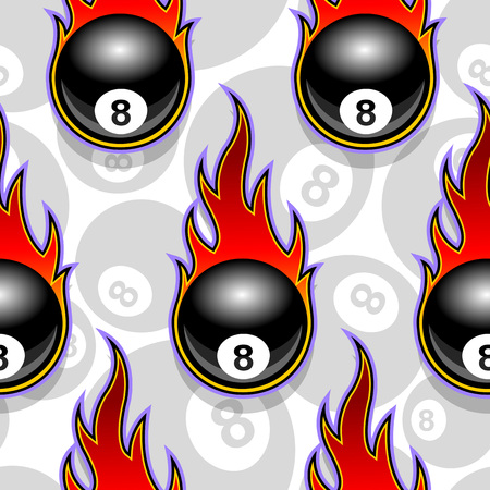 Seamless pattern with billiards pool snooker 8 ball icons and flames. Vector illustration. Ideal for wallpaper, wrapper, packaging, fabric design and any kind of decoration.