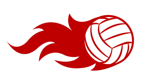 Vector illustration of volleyball ball with simple flame shape. Ideal for sticker, decal, sport and any kind of decoration.