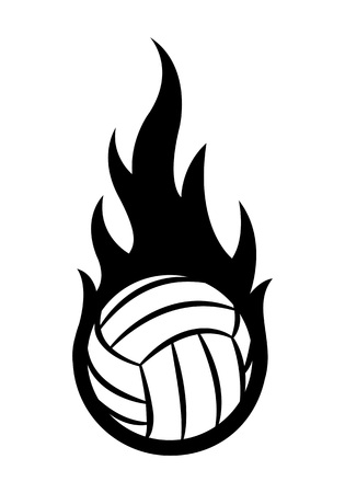 Vector illustration of volleyball ball with simple flame shape. Ideal for sticker, decal, sport logo and any kind of decoration.