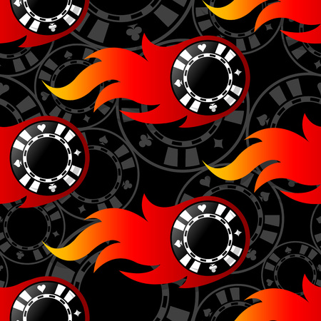 Seamless pattern with casino poker chips icons and flames. Vector illustration. Ideal for wallpaper, covers, wrapper, packaging, fabric design and any kind of decoration. Illusztráció