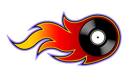 Illustration vectorielle de l'icône de disque vinyle rétro vintage avec des flammes simples. Idéal pour les autocollants, les décalcomanies, les éléments de conception de logo de poker de casino et tout type de décoration. Logo