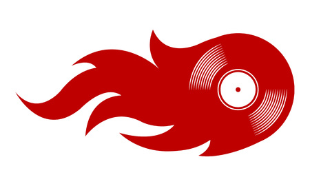 Vector illustration of vintage retro vinyl record icon with simple flames. Ideal for stickers, decals, casino poker logo design element and any kind of decoration.