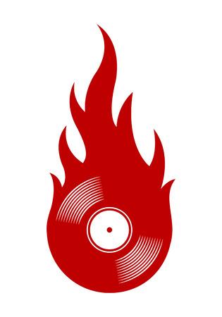 Illustration vectorielle de l'icône de disque vinyle rétro vintage avec des flammes simples. Idéal pour les autocollants, les décalcomanies, les éléments de conception de logo de poker de casino et tout type de décoration.