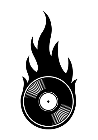 Vector silhouette illustration of vintage retro vinyl record icon with simple flames. Ideal for stickers, decals, casino poker logo design element and any kind of decoration. Иллюстрация