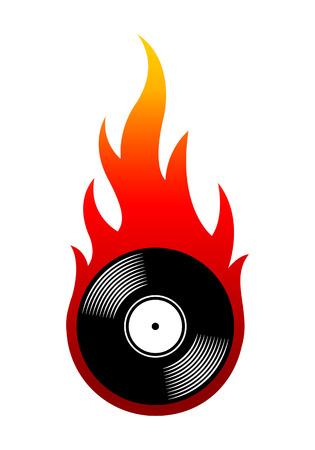 シンプルな炎とヴィンテージレトロビニールレコードアイコンのベクターイラスト。ステッカー、デカール、カジノポーカーロゴデザイン要素、あらゆる種類の装飾に最適です。 写真素材 - 105733159