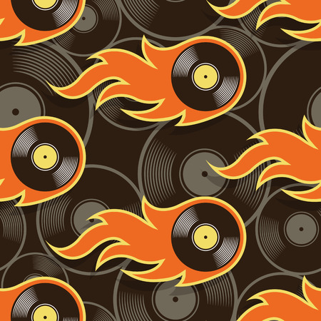 Seamless pattern with retro vintage vinyl record icons and flames. Vector illustration. Ideal for wallpaper, covers, wrapper, packaging, fabric design and any kind of decoration. Illustration
