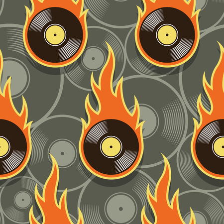 Seamless pattern with retro vintage vinyl record icons and flames. Vector illustration. Ideal for wallpaper, covers, wrapper, packaging, fabric design and any kind of decoration. Illusztráció