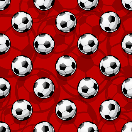Seamless pattern with football soccer ball. Vector illustration. Ideal for wallpaper, cover, packaging, fabric, textile, wrapping paper design and any kind of decoration.