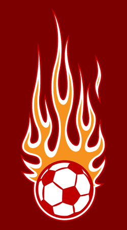 Vector illustration of burning football soccer ball icon with hot rod flames. Ideal for sticker, decal, sport logo design element and any kind of decoration.