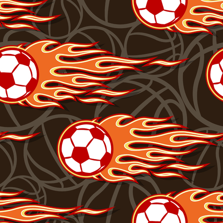 Seamless pattern with football soccer balls and hot rod flame. Vector illustration. Ideal for wallpaper, cover, packaging, fabric, textile, wrapping paper design and any kind of decoration.