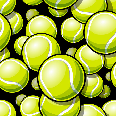 Seamless pattern with tennis ball graphics. Vector illustration. Ideal for wallpaper, packaging, fabric, textile, wrapping paper design and any kind of decoration. Standard-Bild - 112287584