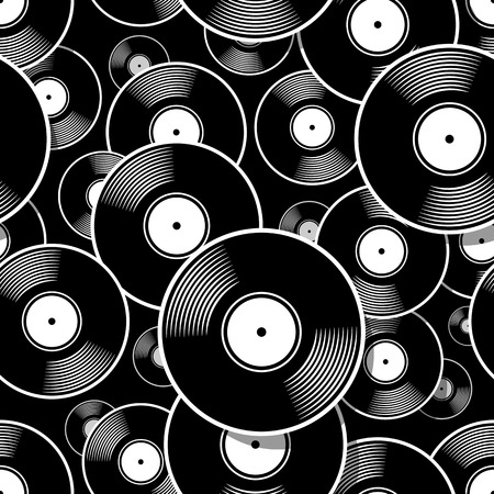 Retro music vintage vinyl record icon printable seamless pattern. Vector illustration. Ideal for wallpaper, wrapper, packaging, fabric, textile, paper design and any decoration. Иллюстрация