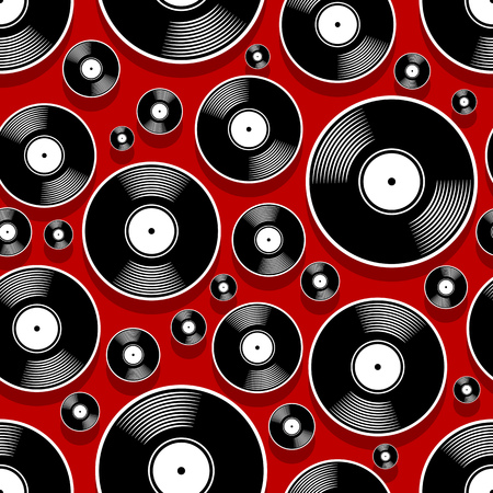Retro music vintage vinyl record icon printable seamless pattern. Vector illustration. Ideal for wallpaper, wrapper, packaging, fabric, textile, paper design and any decoration. Illusztráció