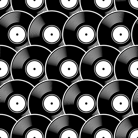 Retro music vintage vinyl record icon printable seamless pattern. Vector illustration. Ideal for wallpaper, wrapper, packaging, fabric, textile, paper design and any decoration. Ilustracja