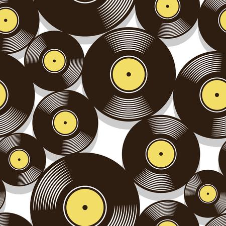 Retro music vintage vinyl record icon printable seamless pattern. Vector illustration. Ideal for wallpaper, wrapper, packaging, fabric, textile, paper design and any decoration. Ilustrace
