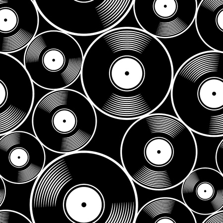 Retro music vintage vinyl record icon printable seamless pattern. Vector illustration. Ideal for wallpaper, wrapper, packaging, fabric, textile, paper design and any decoration. Illustration
