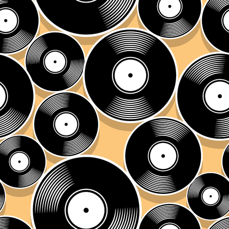 Retro music vintage vinyl record icon printable seamless pattern. Vector illustration. Ideal for wallpaper, wrapper, packaging, fabric, textile, paper design and any decoration.  イラスト・ベクター素材