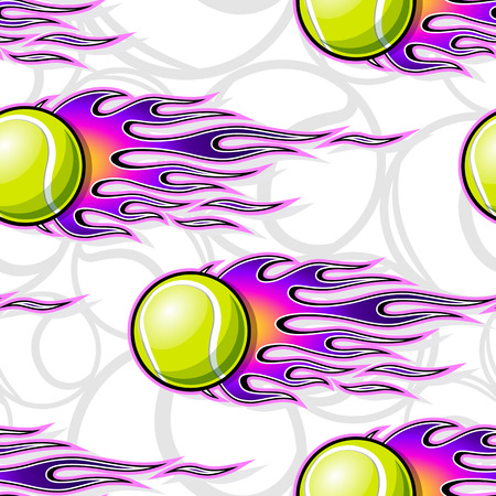 Tennis ball seamless pattern with hotrod flame. Printable vector illustration. Ideal for wallpaper packaging fabric textile wrapping paper design and any decoration. Çizim