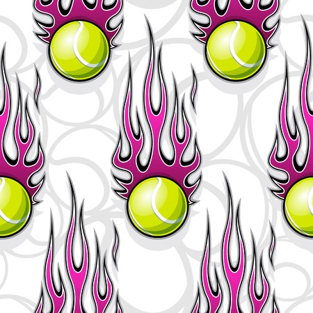 Printable seamless pattern with tennis ball and hotrod flame. Vector illustration. Ideal for wallpaper packaging fabric textile wrapping paper design and any decoration.