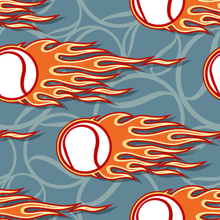 Tennis balls printable seamless pattern with hotrod flames. Vector illustration. Ideal for wallpaper packaging fabric textile wrapping paper design and any decoration.
